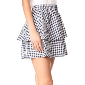 Madewell Sz S Navy White Gingham Tiered Skirt